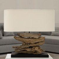 Tischlampe TIMOR Beige aus Treibholz handgefertigt 55cm Breite