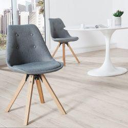Retro Stuhl GÖTEBORG Grau-Eiche mit Knöpfen Strukturstoff im skandinavischen Stil