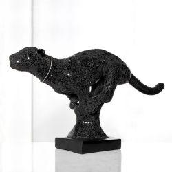 Deko Skulptur Panther PANTERA Schwarz aus Kunststein 90cm Länge