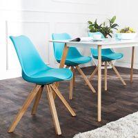 Retro Stuhl GÖTEBORG Türkis-Eiche im skandinavischen Stil