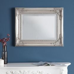 Romantischer Wandspiegel LOUVRE Silber Antik in Barock-Design 55cm x 45cm