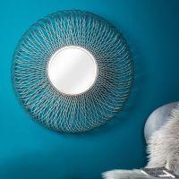 Wandspiegel SUNFLOWER Silber aus Metallgeflecht handgefertigt 80cm Ø