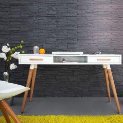 Retro Schreibtisch GÖTEBORG Weiß-Eiche mit 2 Schubladen 120cm im skandinavischen Stil
