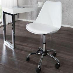 Retro Bürostuhl GÖTEBORG Weiß & Chromgestell im skandinavischen Stil