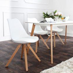 Retro Stuhl GÖTEBORG Weiß-Eiche im skandinavischen Stil