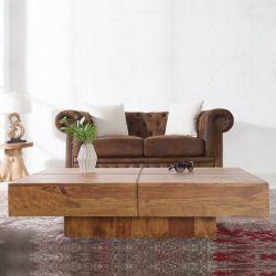 Couchtisch SALEM Sheesham massiv Holz gewachst 110cm x 60cm