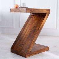 Beistelltisch AGRA Z-Form Sheesham massiv Holz gewachst 60cm x 45cm