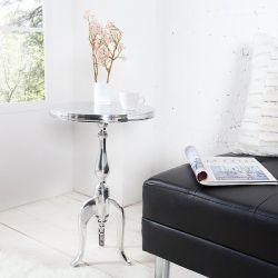 Barock Beistelltisch LAVAL Rund Silber aus Aluminium 55cm Höhe