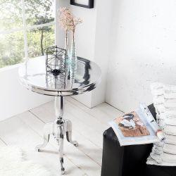 Barock Beistelltisch LAVAL Rund Silber aus Aluminium 75cm Höhe