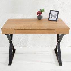 Schreibtisch LONDON Eiche mit Schublade & Gestell Schwarz 100cm