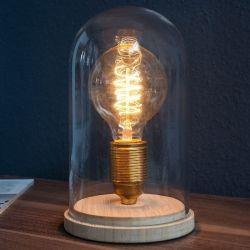 Tischlampe ELECTRO transparent aus Glas und Holz 20cm Höhe