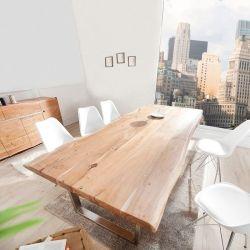 XXL Esstisch AMBA Natur massiv Akazienholz 300cm & 60mm Tischplatte