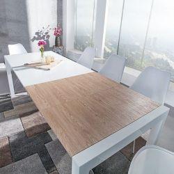 Esstisch TOKYO Weiß Hochglanz & echt Eiche-Furnier 135-175-215cm ausziehbar