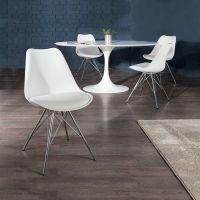Retro Stuhl GÖTEBORG Weiß & Chromgestell im skandinavischen Stil