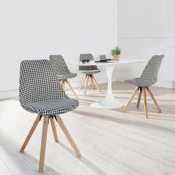 Retro Stuhl GÖTEBORG Hahnentritt-Eiche Strukturstoff im skandinavischen Stil
