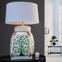 XL Tischlampe MING Weiß mit handbemaltem Baummotiv aus Bambusholz 75cm Höhe