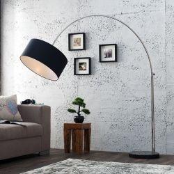 XL Bogenlampe SONOR Schwarz mit Marmorfuß Schwarz 170-200cm Höhe