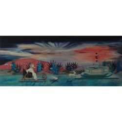 Original und Unikat: Handgemaltes Ölgemälde MIRIAMS REISE AUF DEM MONDSTRAHL 65 x 155cm