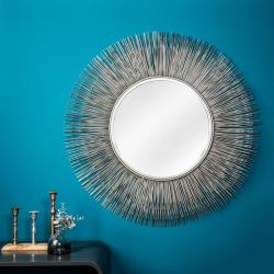 XL Wandspiegel SUNSET Silber aus Metallstäbchen handgefertigt 88cm Ø
