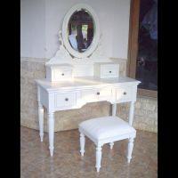 Mahagoni Frisiertisch MARGAUX Weiß inkl. Spiegel & Hocker 110cm