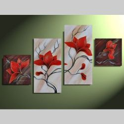 4 Leinwandbilder MAGNOLIA (1) 80 x 50cm Handgemalt