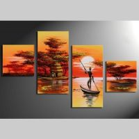 4 Leinwandbilder AFRIKA Mann (1) 80 x 50cm Handgemalt