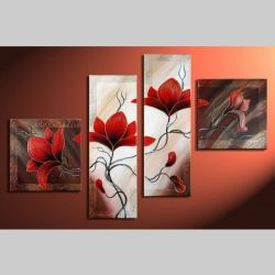 4 Leinwandbilder MAGNOLIA (2) 100 x 70cm Handgemalt