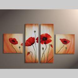 4 Leinwandbilder MOHN (2) 100 x 60cm Handgemalt
