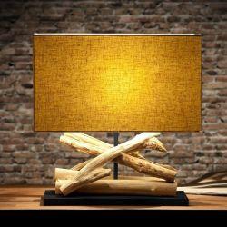 Tischlampe KULIM Beige aus Treibholz handgefertigt 40cm Höhe
