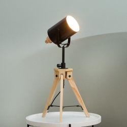 Tischlampe STUDIO Schwarz mit Gestell aus Kiefernholz 58-78cm Höhe