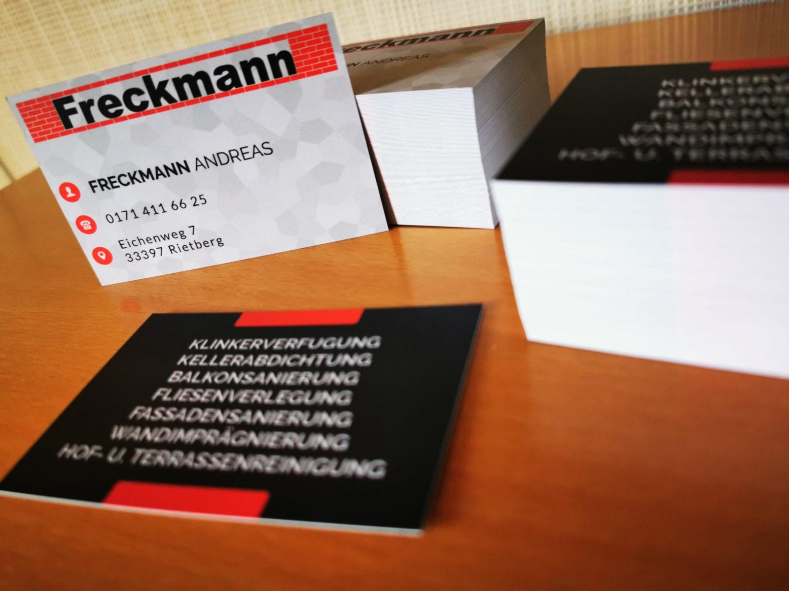 Firmenschilder und Visitenkarten für FRECKMANN