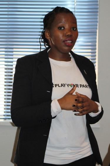 Onke Dumeko assistant brand manager presenting to ambassadors. Photo: Prelene Singh.