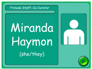 Staff card for Miranda Haymon, co-curator