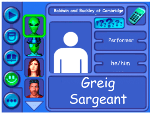 Performer card of Greig Sargeant, performer
