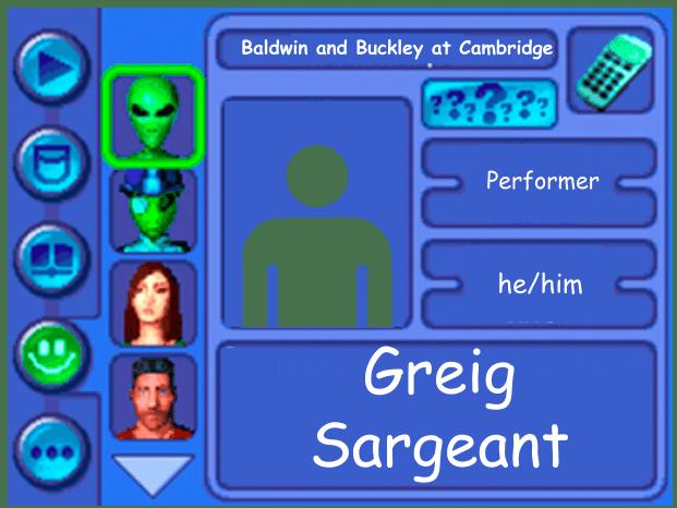 Performer card of Greig Sargeant, performer