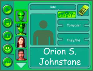 Performer card for Orion S. Johnstone, composer