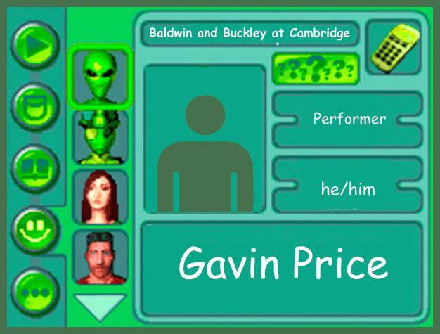 Performer card of Gavin Price, performer