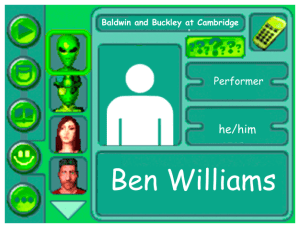 Performer card of Ben Williams, performer