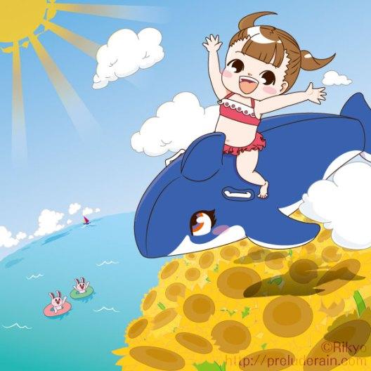 夏!!海!!(間違い探し用イラスト) Illustrator