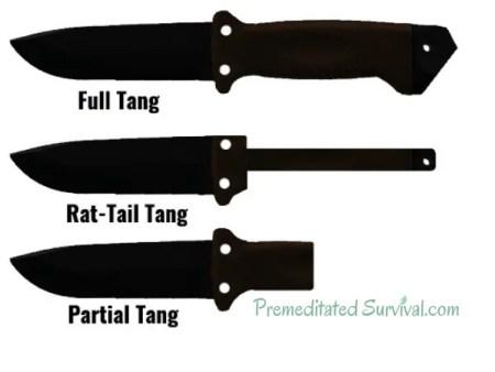 full tang partial tang rat tail tang knives