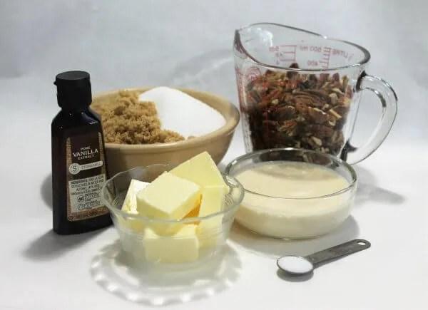 ingredients for southern pecan pralines