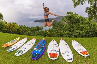Carissa Moore poses for a portrait in Costa Rica. Photo by Jason Kenworthy/Red Bull Content Pool