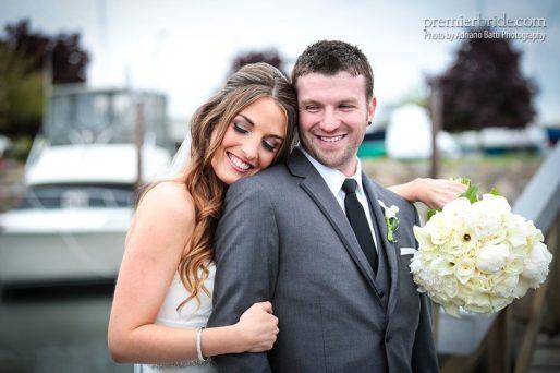 Bride and groom romantic photo