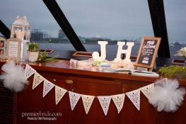 Bridge of Spirit of Philadelphia with wedding decorations