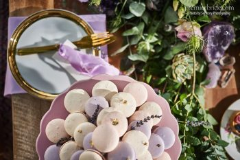 Macarons with gold leaf