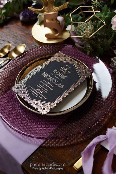 black, gold and purple wedding invitation