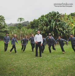 Groomsmen in outdoor Hawaii Wedding