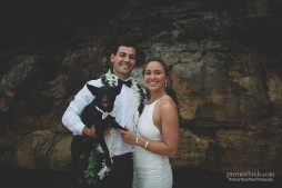 Bride and Groom with Dog for Wedding