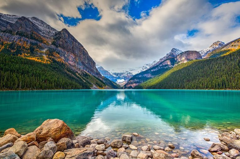 Beautiful autumn views of iconic Lake Louise in Banff National Park in the Rocky Mountains of Alberta Canada