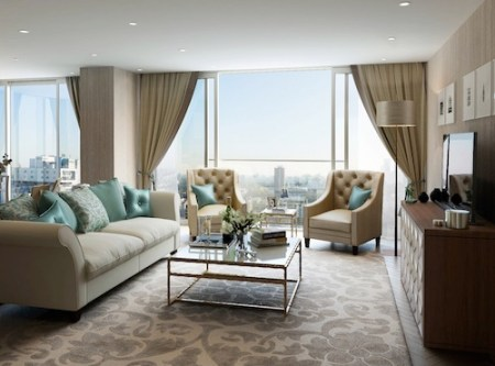 CGI Interior of Classic Elegance Apartment 3.01 Living Room at Meranti House/Kingwood Gardens